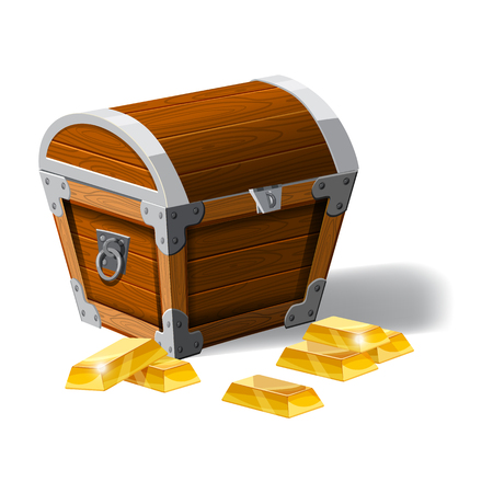 Old pirate chest full of gold bars, vector, cartoon style, illustration, isolated