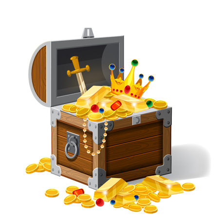 Old pirate chest full of treasures, gold coins, ingots, jewelry, crown, dagger, vector, cartoon style illustration isolated Illustration