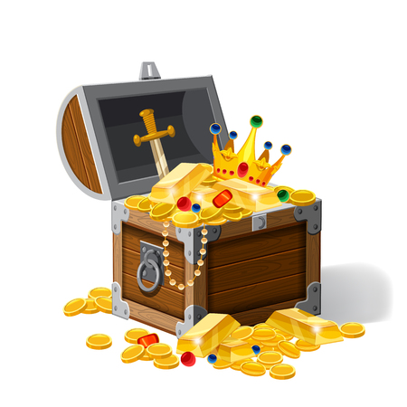 Old pirate chest full of treasures, gold coins, ingots, jewelry, crown, dagger, vector, cartoon style illustration isolated 일러스트