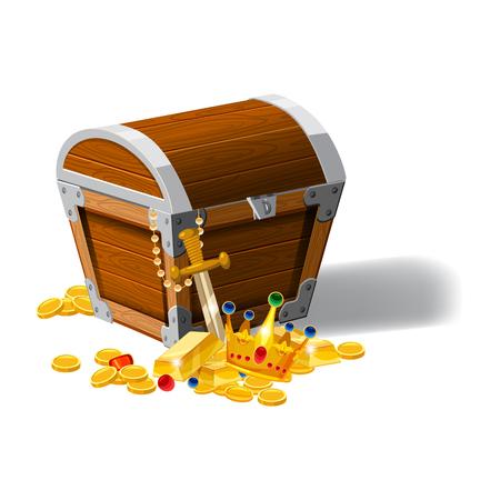 Old pirate chest full of treasures cartoon style illustration. Illustration