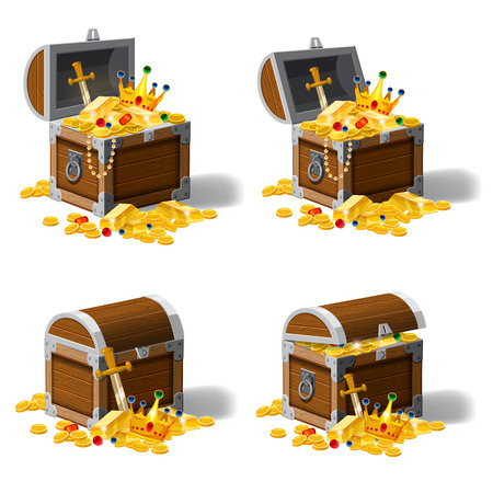 Set old pirate chests full of treasures, gold coins, ingots, jewelry, crown, dagger, vector, cartoon style illustration isolated