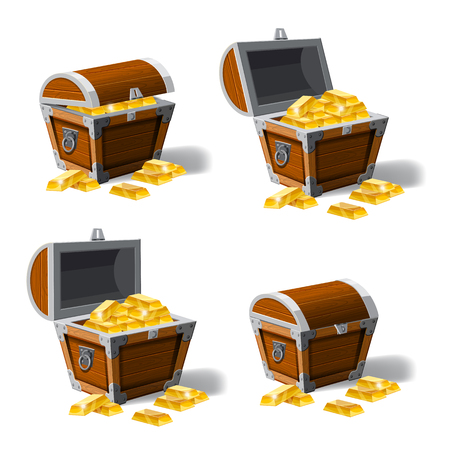 Set old pirate chests full of gold bars, vector, cartoon style, illustration, isolated. For games, advertising applications Illustration