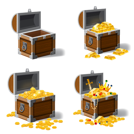 Chests full of treasures illustration