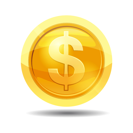 Game coin with currency dollar, game interface, gold, vector, cartoon style, isolated