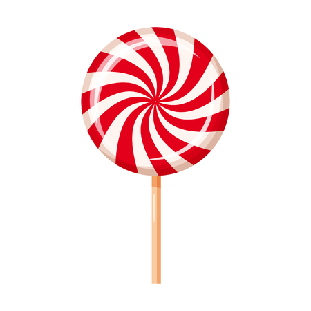 Striped peppermint candy, caramel, vector Cartoon style  イラスト・ベクター素材