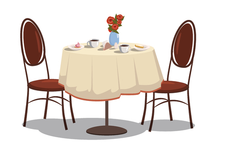 Modern restaurant table with tablecloth, coffe mugs, flowers, and two chairs. Bright colored cartoon vector