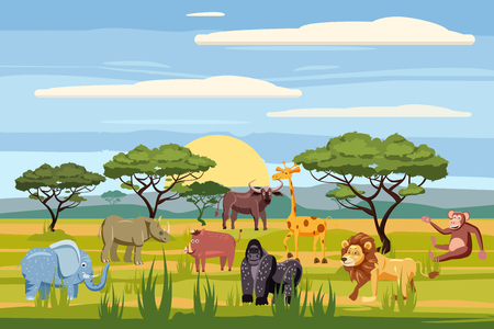 Set of cartoon african animals, background landscapes savanna. Safari animals , hippopotamus, rhinoceros, elephant, giraffe, lion, monkey, buffalo, cartoon style, vector, isolated