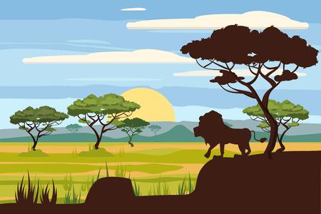 Paesaggio africano, leone, savana, tramonto, vettore, illustrazione, stile cartone animato, isolato