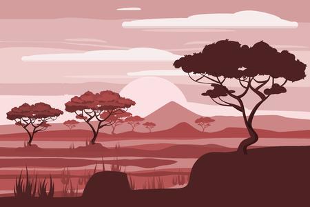 African landscape, lion, savannah, sunset, vector, illustration, cartoon style, isolated Illustration