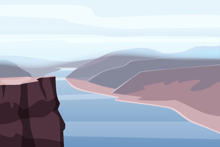 Mountain landscape canyon, river, rocks, open space vector illustration Ilustração