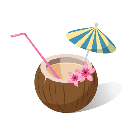 Aloha tropical coconut cocktail with colorful straws and umbrella on jungle leaves.