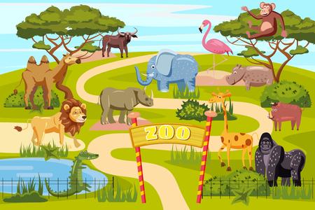 Cartel de dibujos animados de las puertas de entrada del zoológico con elefante jirafa león safari y visitantes en la ilustración de vector de territorio, estilo de dibujos animados, aislado
