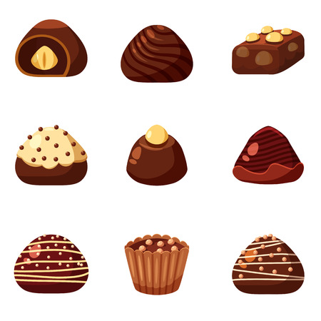 Set of colorful chocolate desserts and candies from boxes for special holidays, vector, isolated
