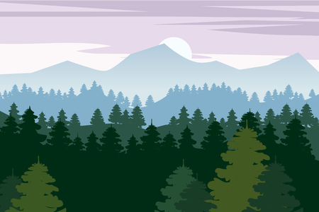 Pine forest and mountains vector backgrounds. Panorama taiga silhouette illustration Ilustração