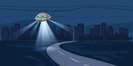 UFO flying over night city, metropolis, houses, skyscrapers, expensive, vector, illustration Stock Illustratie