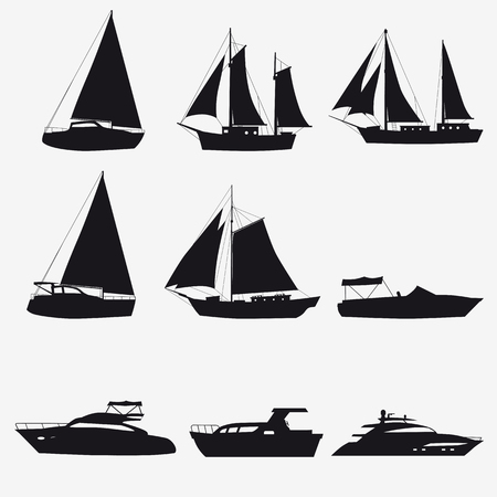 Super set of water carriage and maritime transport in modern cartoon design style. Ship, boat, vessel, cargo ship, cruise ship, yacht. Isolated