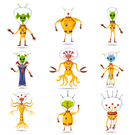 Cute Aliens In Space Suits, Spaceship Crew Cartoon Characters, vector, isolated