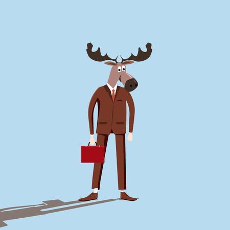 Businessman elk, cartoon, irony, vector, illustration, cartoon style, isolated