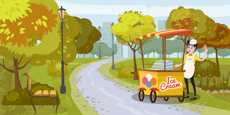 Park, seller and cart with ice cream, seller, trees. bench, background metropolis, vector, illustration, isolated, cartoon style