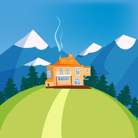 Mountain landscape, house on the mountain, chalet, hotel, vector, illustration, isolated, cartoon style Иллюстрация