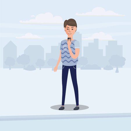 Teenager looking into smartphone on the go, background city, vector, illustration, cartoon style, isolated 向量圖像