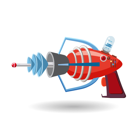 Cartoon retro space blaster, ray gun, laser weapon. Vector illustration. Cartoon style