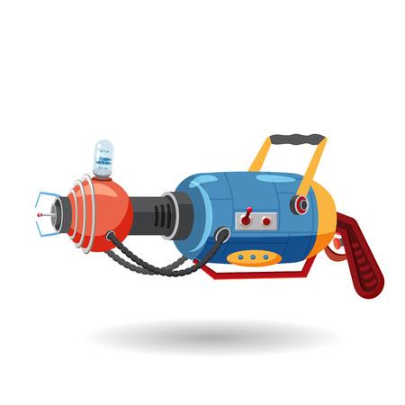 Cartoon retro space blaster, ray gun, laser weapon. Vector illustration. Cartoon style