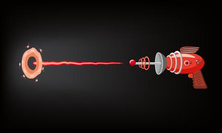 Blaster, laser, gan-game, shot ray en flits, vectorillustratie, cartoon silhouet, rood, blauw, donker, voor games, apps, concept voor ontwerp. Geïsoleerd