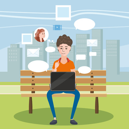 Teenager Using Laptop in a Bench in the Park, social networks, chat, cartoon style, vector