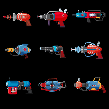 Set cartoon retro space blaster, ray gun, laser weapon. Vector illustration. Cartoon style