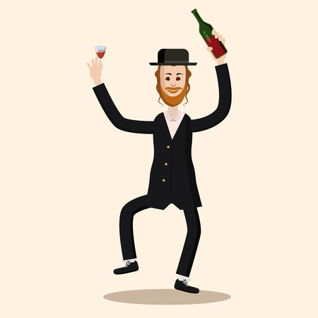 Funny vector a dancing Jew character Happy Shavuot holiday card.