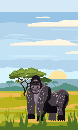 Gorilla on the background of the African landscape, savanna, Cartoon style, vector illustration