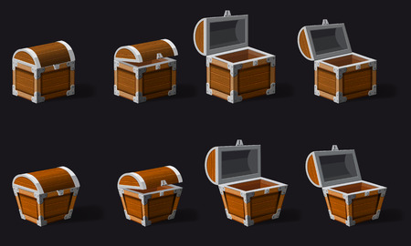 Set old pirate chests, vector, cartoon style, illustration, isolated. For games, advertising applications