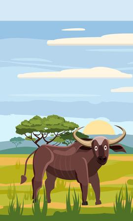 Bufffolo cute cartoon style in background savannah Africa, isolated, vector