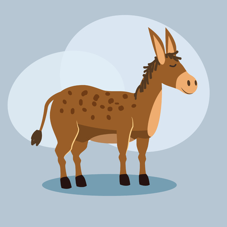 Cute cartoon donkey illustration, vector, isolated Ilustração