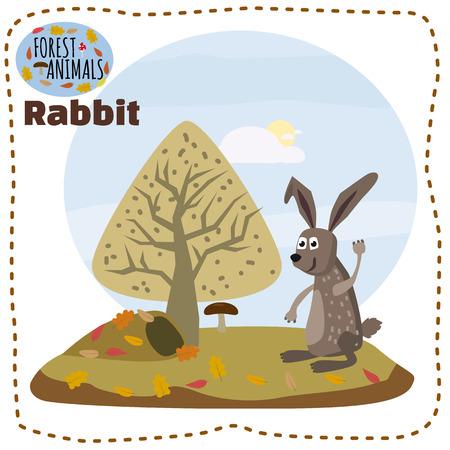 Cute cartoon rabbit on background landscape forest illustration, vector