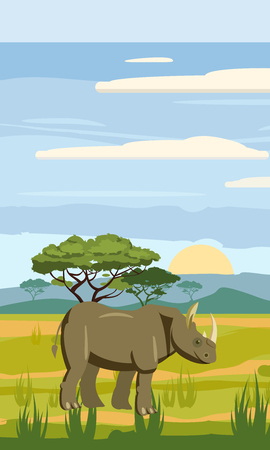 Cute cartoon rhiniceros on background landscape savannah Africa illustration, vector