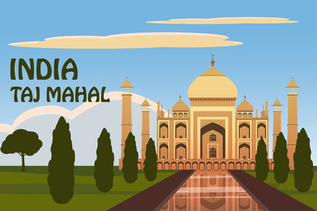 The Taj Mahal. White marble mausoleum on the south bank of the Yamuna river in the Indian city of Agra, Uttar Pradesh. Starry sky. Vector illustration. Isolated
