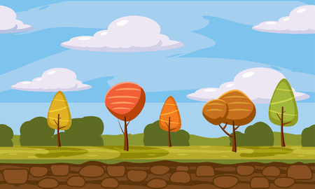 Autumn landscape trees and fall leaves, similar, vector illustration, cartoon style, isolated