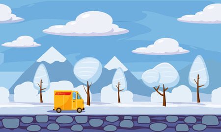 Winter landscape trees and snow, delivery, track, similar, vector illustration, cartoon style, isolated