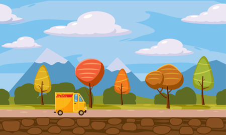Autumn landscape trees and fall leaves, delivery, track, similar, vector illustration, cartoon style, isolated Ilustrace