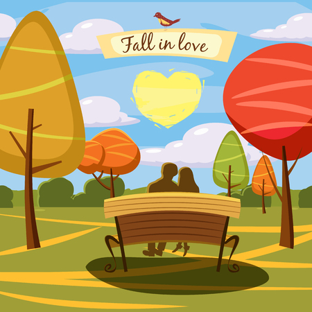 Autumn landscape, bench, lovely couple in love, heart, trees and fall leaves, similar, vector illustration, cartoon style, isolated