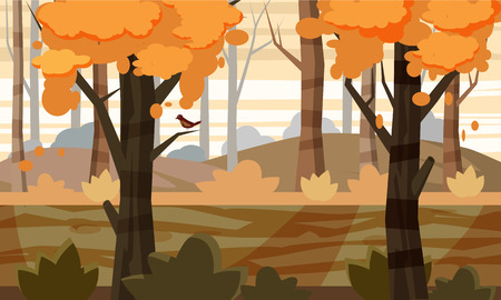 Autumn landscape trees and fall leaves, vector illustration, cartoon style, isolated