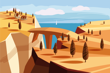Fantastic landscape mountain, gorge, horizon, space, cartoon fantasy in game design, vector illustration, isolated