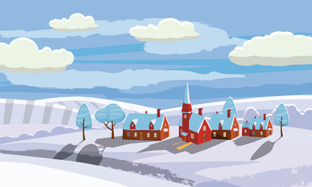Winter landscape with country house and bullfinches. Cartoon style, vector, isolated Ilustração