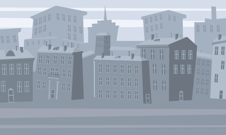 Cartoon cityscape. Old city skyline vector background. Urban city tower skyline illustration, isolated