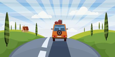 Espacio de ilustración de vector de viaje de verano para su texto. . Viaje en coche al campamento, concepto de turismo. Vector, ilustración, aislado Ilustración de vector