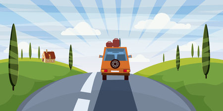 Summer trip vector illustration space for your text. . Car trip to camp, tourism concept. Vector, illustration, isolated Vectores
