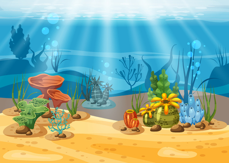 Underwater illustration and life. the beauty of marine life. Algae and coral reefs are beautiful and colorful, vector, isolated, cartoon style Illustration