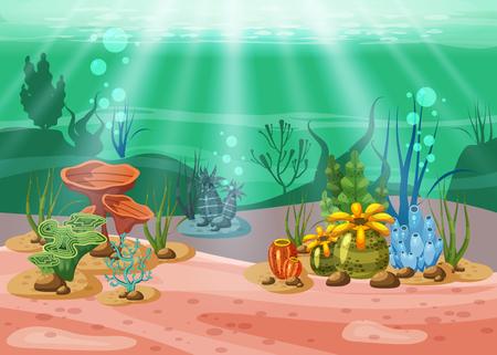 Podwodna ilustracja i życie. piękno życia morskiego. Algi i rafy koralowe są piękne i kolorowe, wektorowe, izolowane, w stylu kreskówkowym